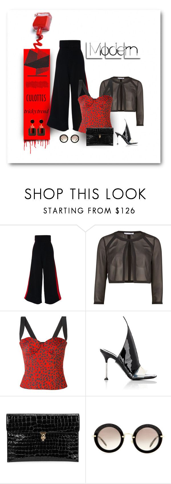 """Red Dots of Movement"" by michelletheaflack ❤ liked on Polyvore featuring Stella Jean, Gina Bacconi, FAUSTO PUGLISI, Balenciaga, Alexander McQueen, Miu Miu, Marni, TrickyTrend, polyvorecontests and culottes"