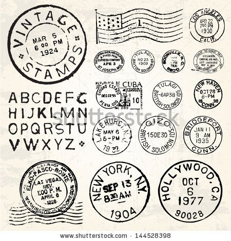 Vector postage stamp set great for vintage designs by for Post office design your own stamps