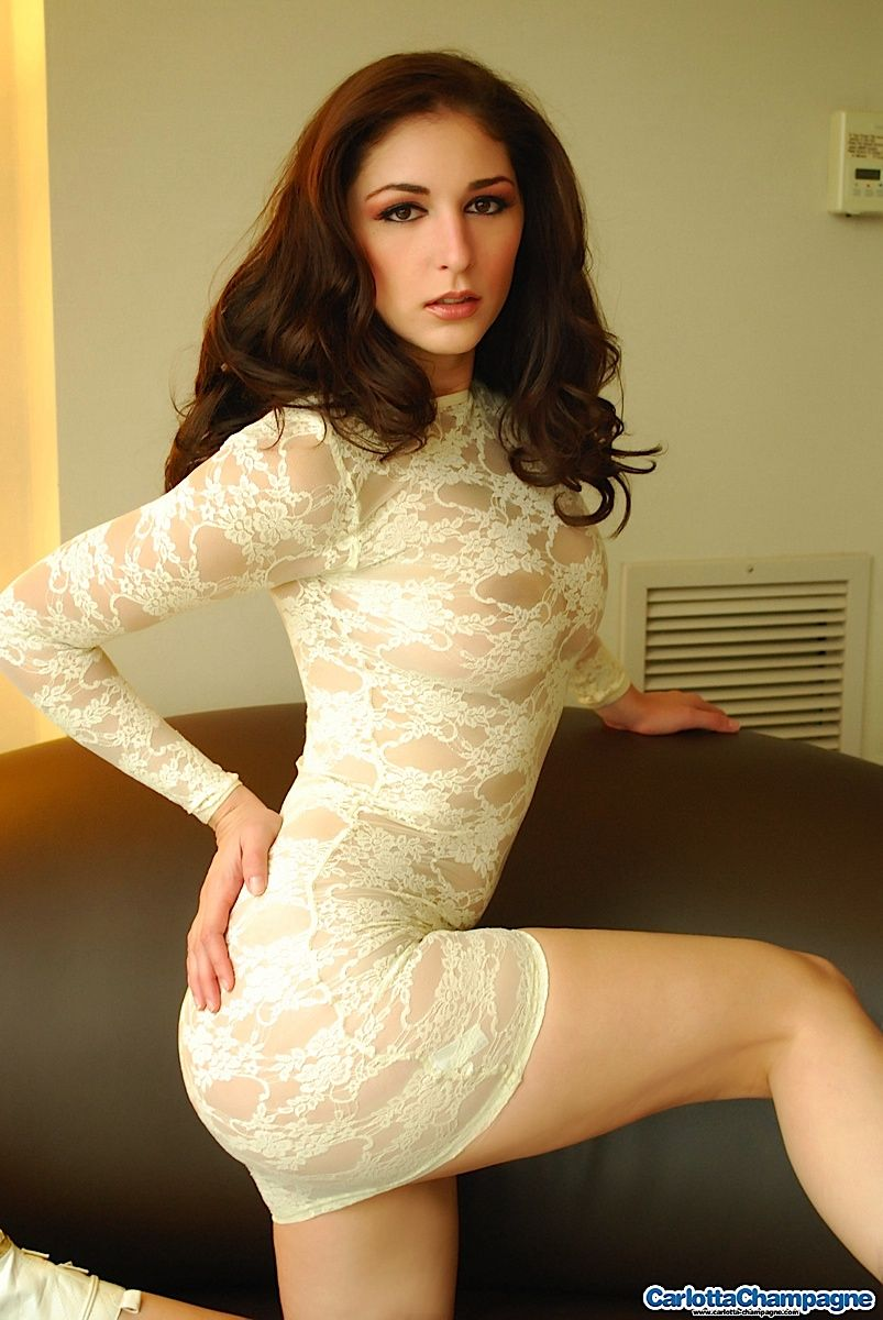 Carlotta Champagne Sexy Hot Babe Champagne Lace Dresses Teen Models Hot Sexy