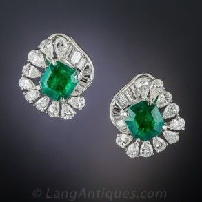 Platinum Emerald and Diamond Earrings   Diamond earrings