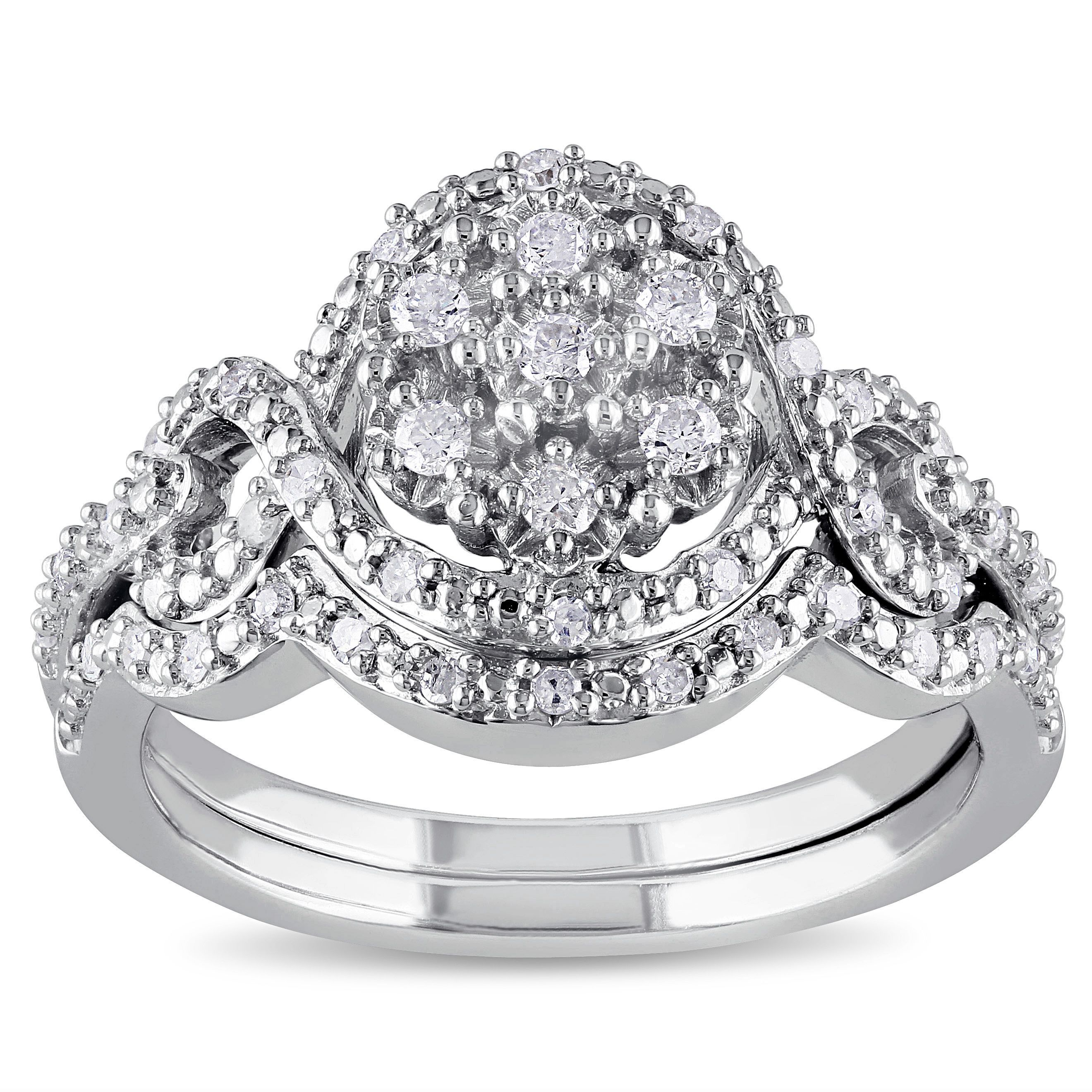 Miadora Sterling Silver 1 3ct TDW Diamond Bridal Set by Miadora