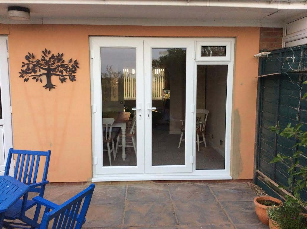 White French Doors With Glazed Side Panels And Top Opener