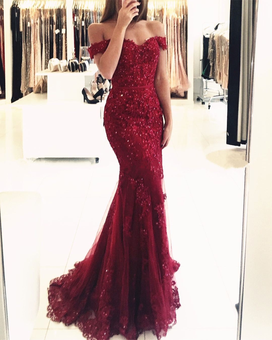 Burgundy Prom Dresses,Mermaid Evening Dress,Lace Evening Gowns ...