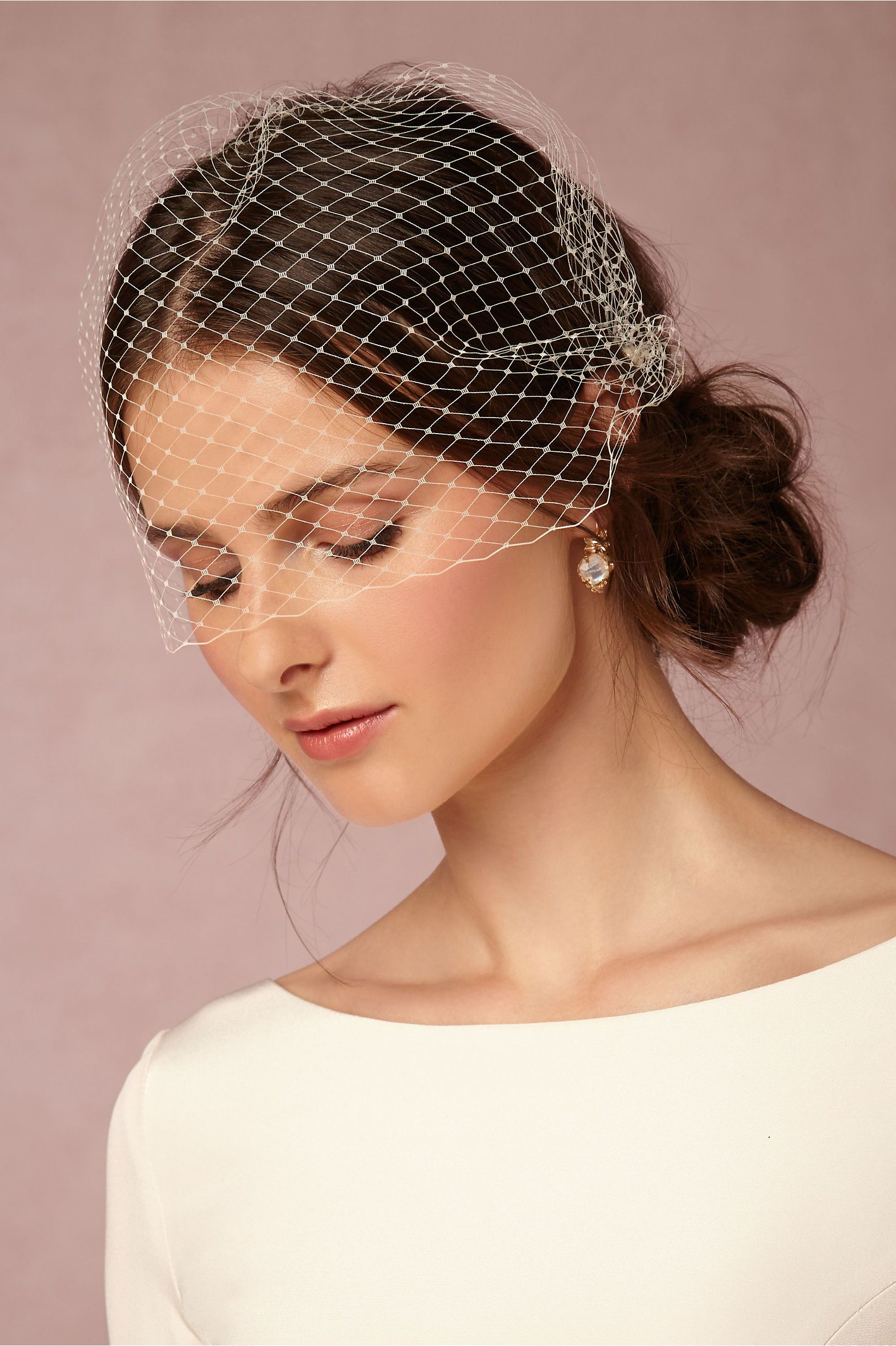 "Elo "" Birdcage Bridal Veil That Has Three bs Attached For"