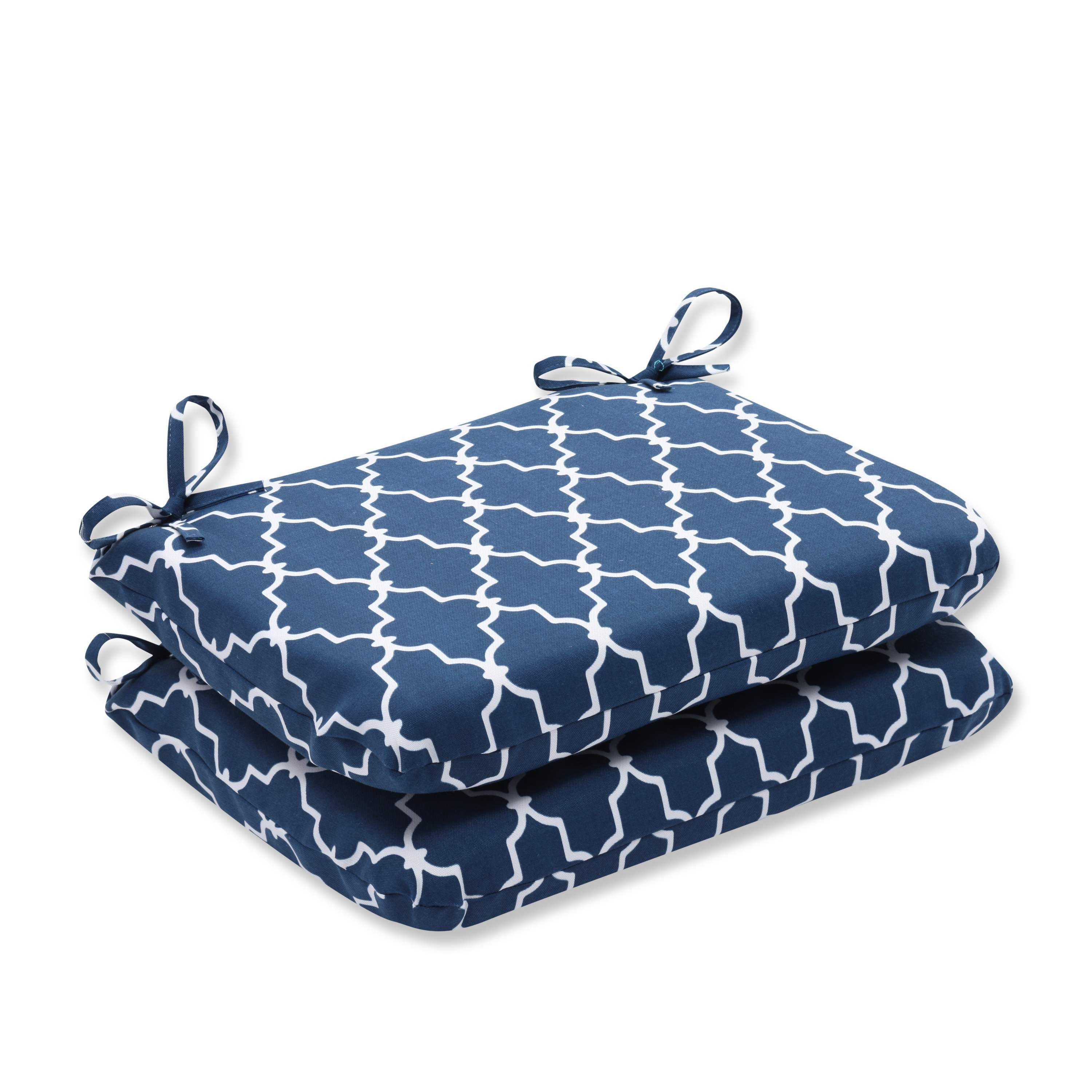 Pillow Perfect Outdoor/ Indoor Garden Gate Navy Rounded Corners Seat Cushion
