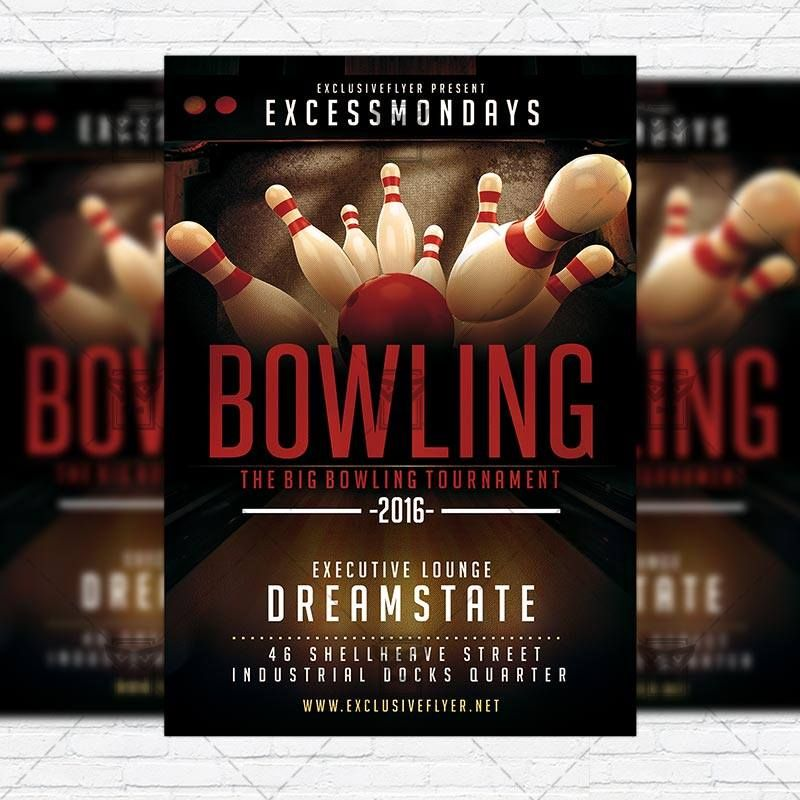 The Big Bowling u2013 Premium Flyer Template + Instagram Size Flyer - bowling flyer template free