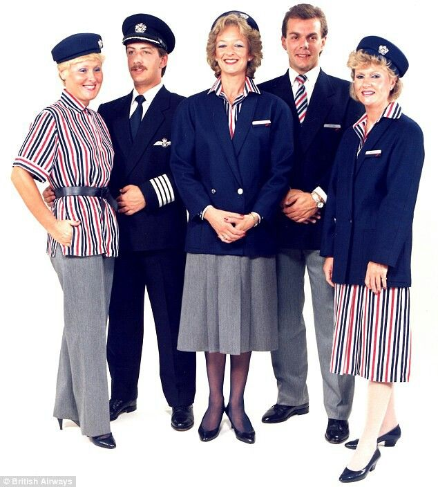 British Airways cabin crew uniform 1980s