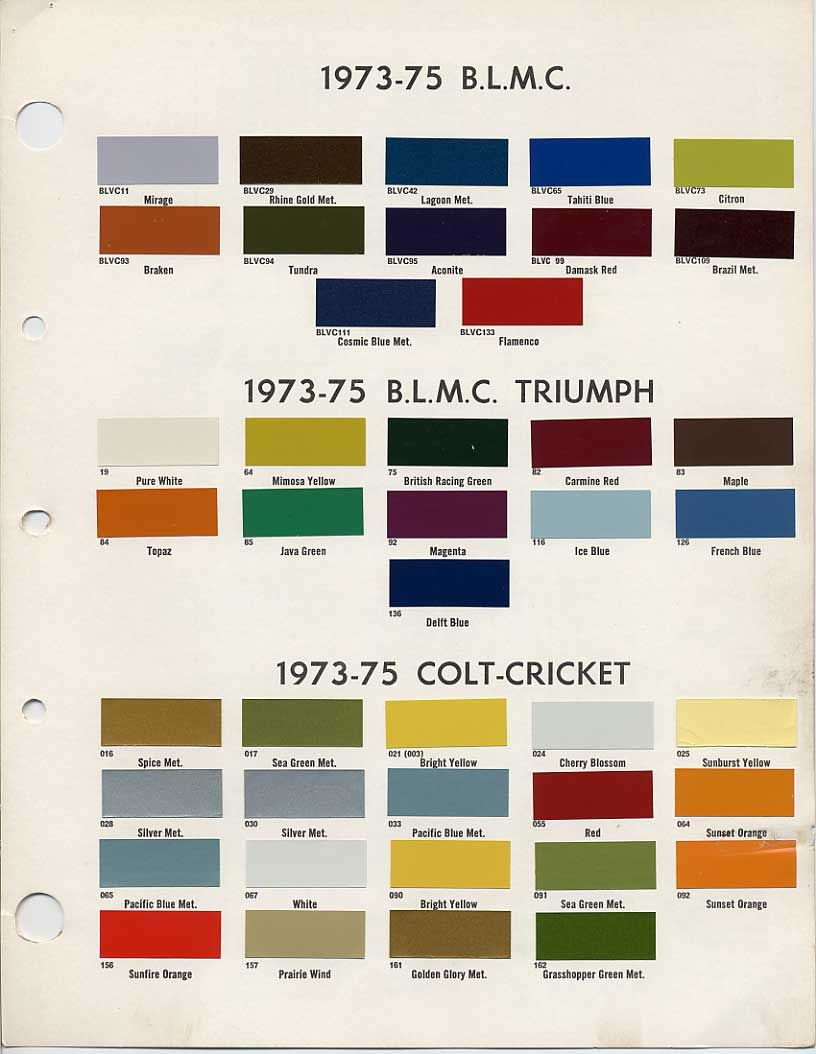 Bmc British Leyland Paint Code Chips 1973 1975 British Racing Green Paint Color Codes Coding