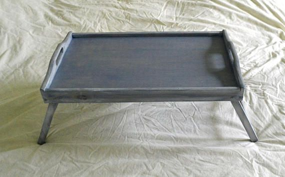 Large Breakfast Tray Bed Tray Tray With Legs Serving Tray Blue Tray Tray With Folding Legs Wood Folding Tray Serving Tray Folding Lap Tray