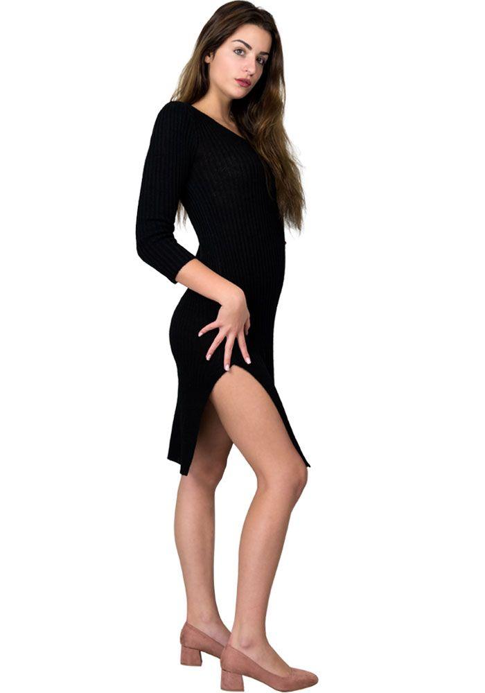 d0dd87175edf Φόρεμα midi πλεκτό με σκίσιμο