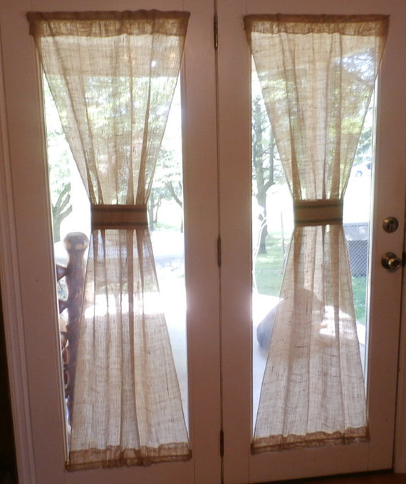 Burlap 1pc Custom Made Home Decor Rod Pocket By 2creativeladys French Door Curtains Glass French Doors Drapery Treatments