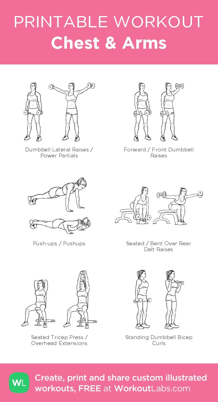 Chest & Arms illustrated exercise plan created at