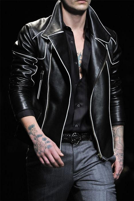 Black Leather Jacket With White Piping Leather Jacket Men Mens Outfits Hipster Mens Fashion