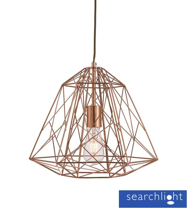 Searchlight Geometric Cage Frame Pendant Ceiling Light Copper