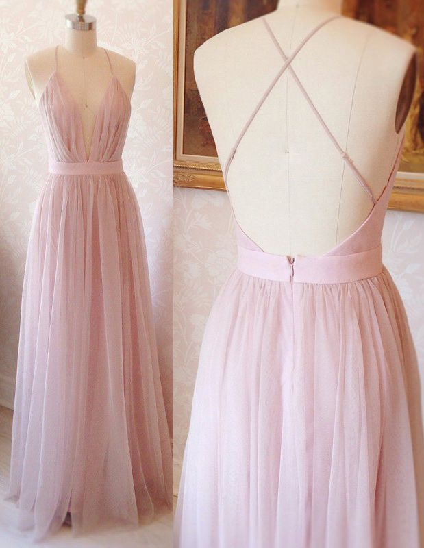 62ca8dafcb A-Line Deep V-Neck Backless Floor-Length Pink Pleated Prom Dress ...