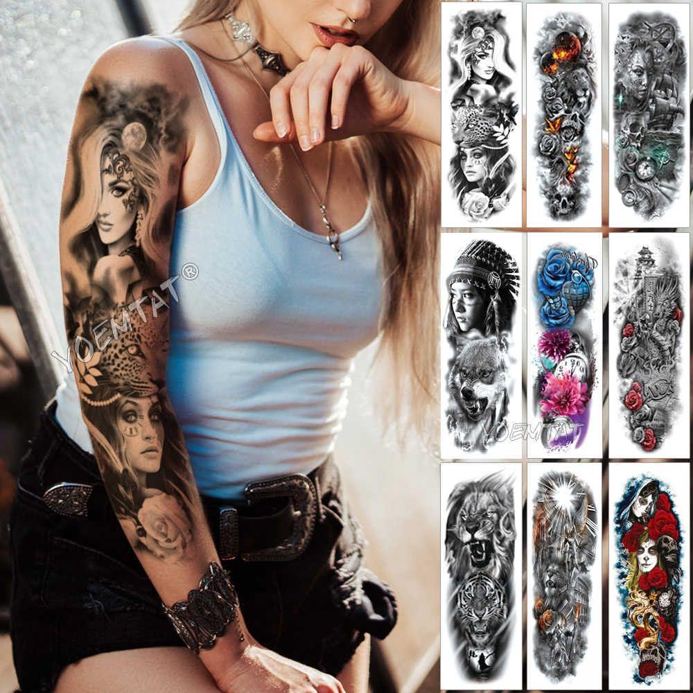 Large Arm Sleeve Tattoo Midnight Leopard Beauty Girl