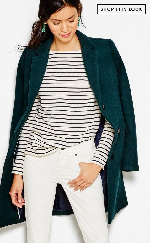Top and coat with black pants | J.Crew Factory : Gift Guide | Holiday Gift Guide 2015