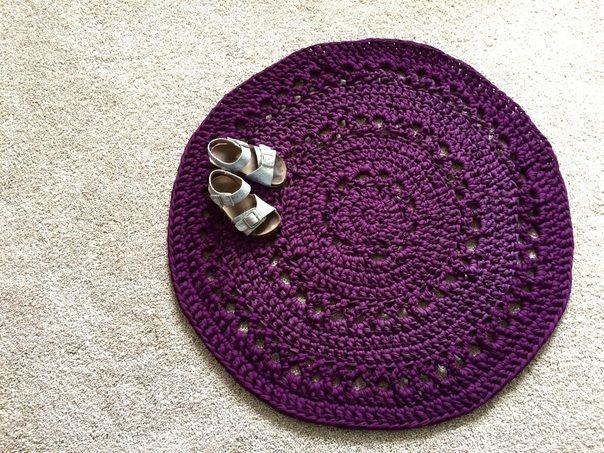 t-shirt yarn rug free crochet pattern, diy rag rug, tshirt yarn ...