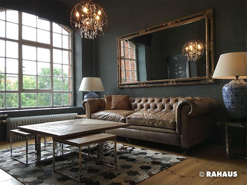 LONDON LOFT Couch Sofa Leuchte Kissen Puff Hocker Couchtisch Wohnzimmer