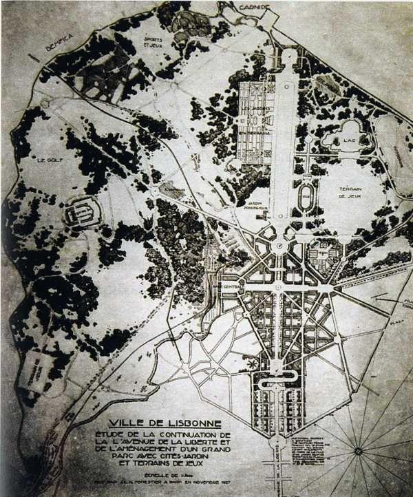 Proyecto de Forestier para la ciudad de Lisboa. Fuente: Morais y Roseta, 2005, p. 31.