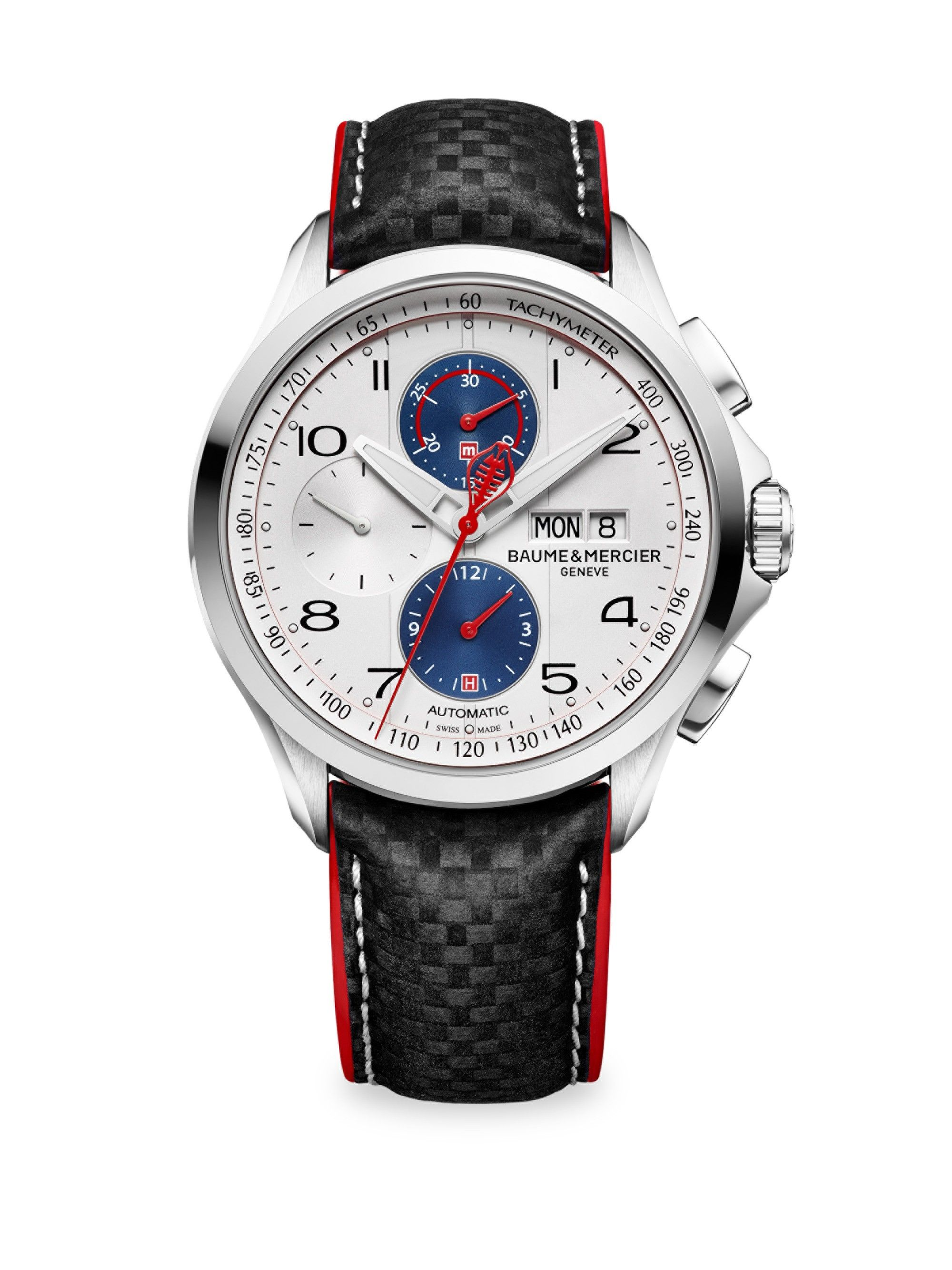0ea32af4ae2 BAUME   MERCIER Clifton Club Shelby Cobra 10342 Stainless Steel   Leather  Strap Watch.  baumemercier