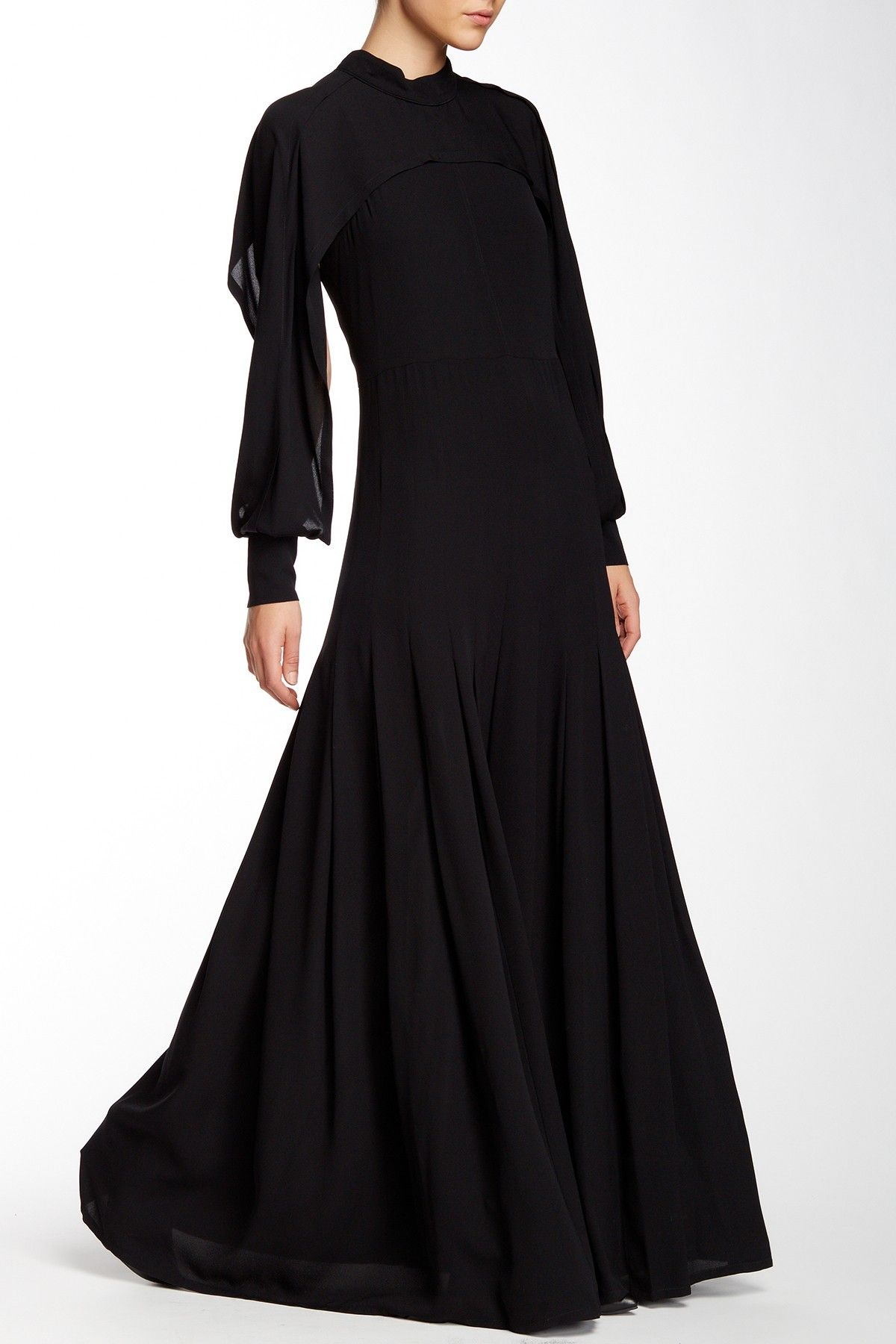 Silk Cape Sleeve Pleated Gown by Yigal Azrouel on HauteLook