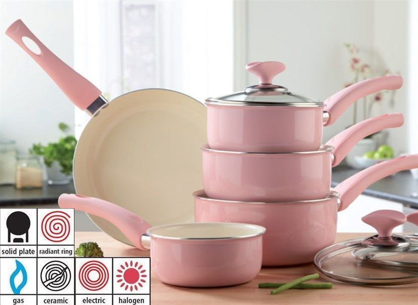 5 Piece Baby Pink Pan Set Ceramic Easy Clean Soft Touch Handles In