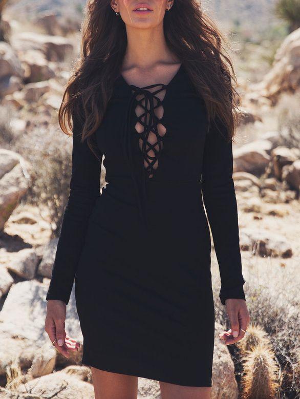 b01db4b1dd8cd Black Long Sleeve Lace Up Sheath Dress | My Style | Lace up bodycon ...
