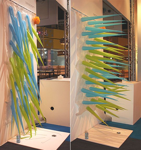 Green Blue Spike Shower Curtain Crazy Spiked Bathroom Decor Badevaerelse Brusere