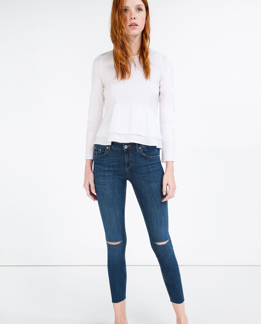 CROPPED MID-RISE SKINNY JEANS-Damaged-JEANS-WOMAN | ZARA Romania
