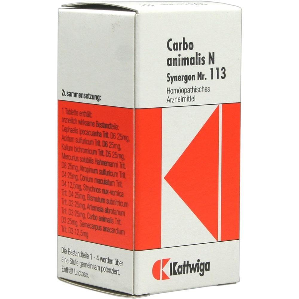 SYNERGON 113 Carbo animalis N Tabletten:   Packungsinhalt: 100 St Tabletten PZN: 04905376 Hersteller: Kattwiga Arzneimittel GmbH Preis:…