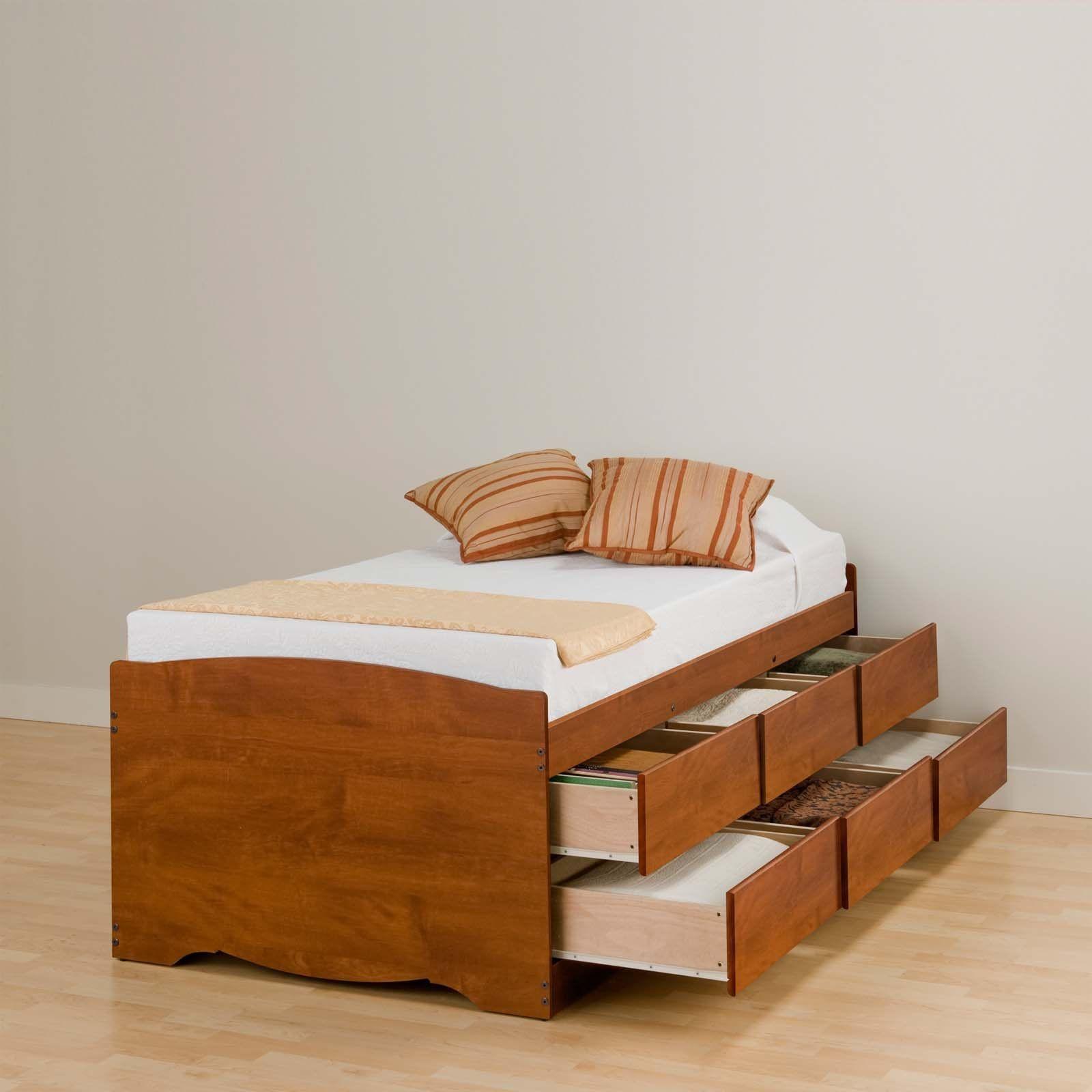 Prepac monterey cherry tall queen platform storage bed with