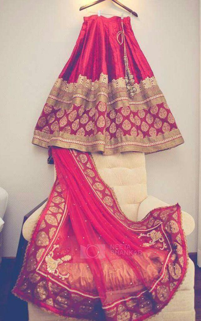 Red Brocade border Lehenga in silk. | Designer Indian Clothing ...