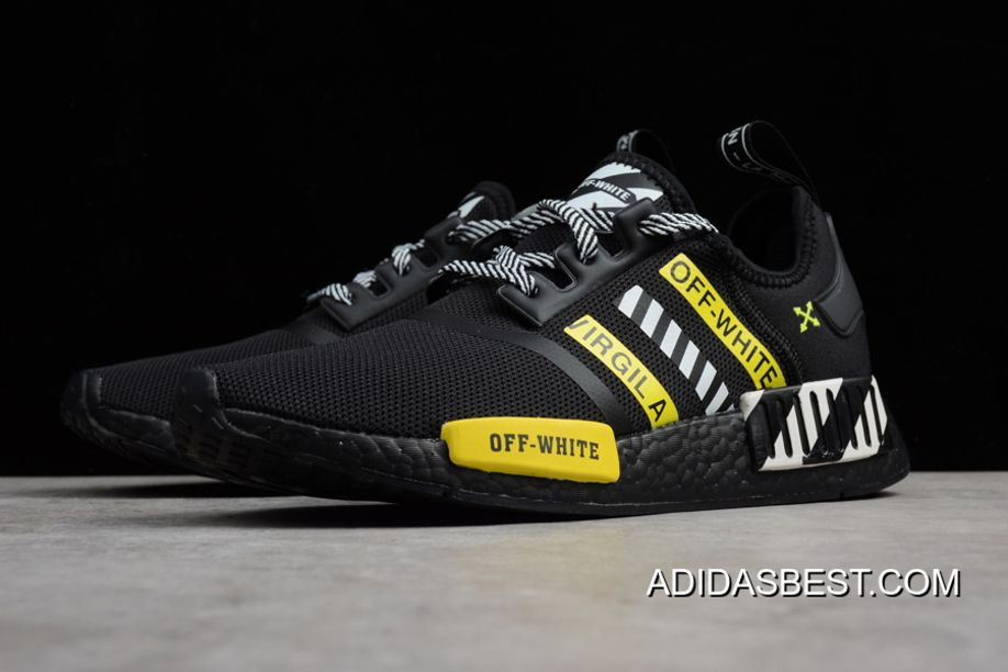 the best attitude 5de31 2c573 OFF-White Adidas NMD R1 Black White/Yellow Shoes Discount ...