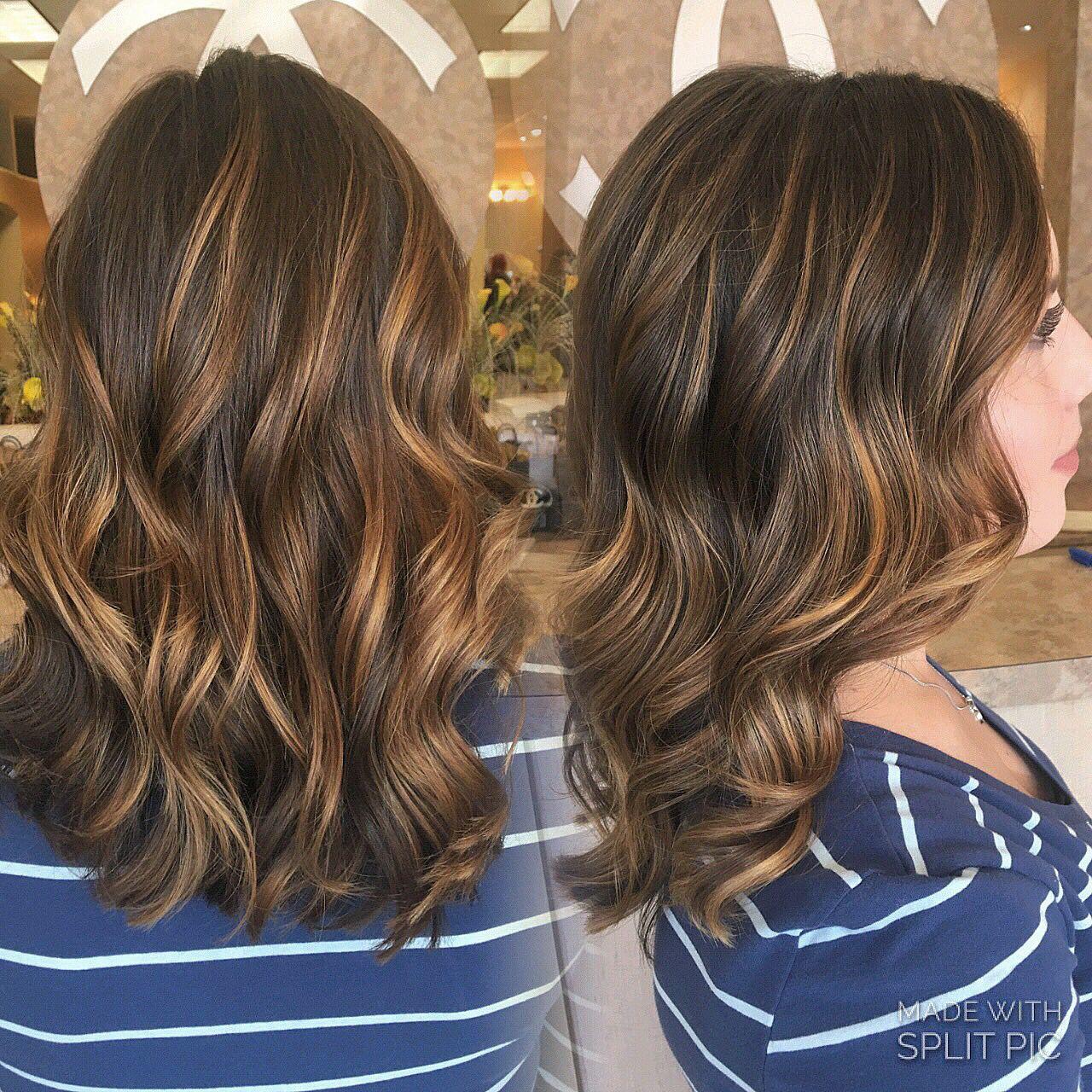 Natural Balayage Highlights Brown Hair Blonde Hand Painted