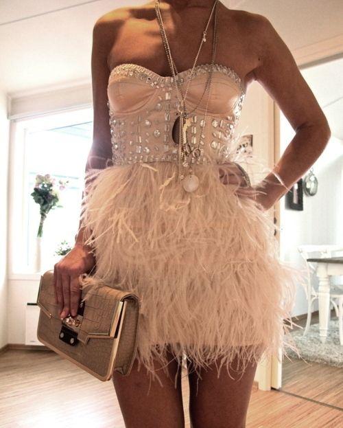 White Feathered Bottom Dress Glamorous Dresses Feather Dress Fashion