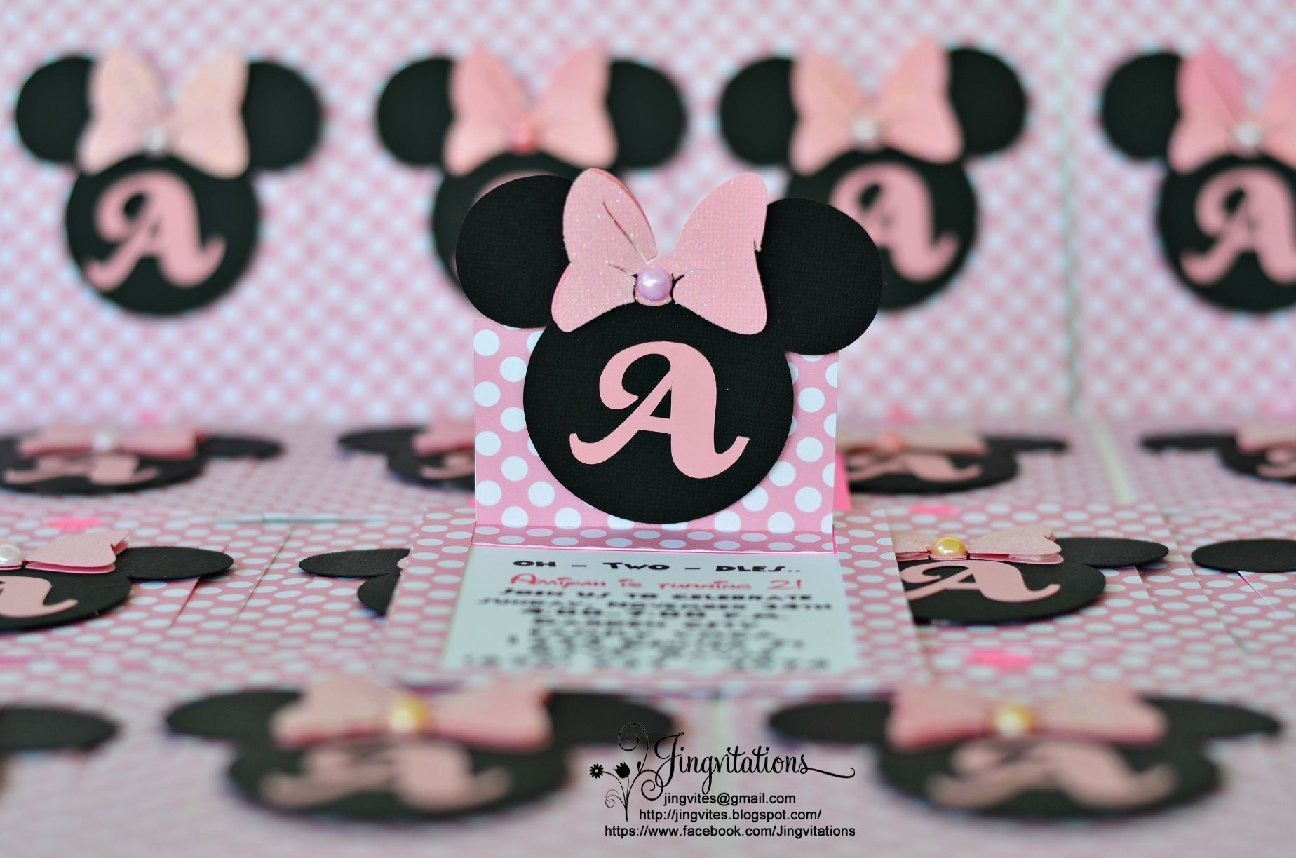 handmade minnie mouse baby shower invitations | Handmade Minnie ...