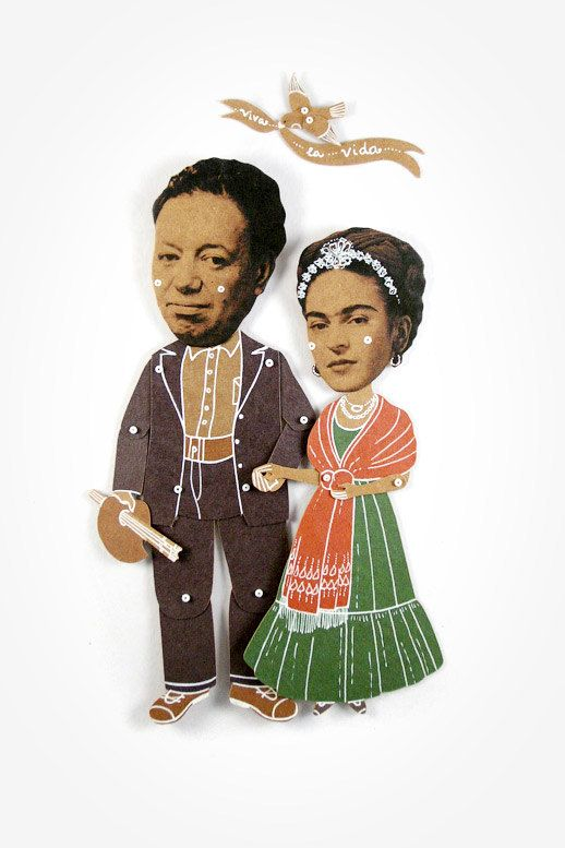 Articulated Paper Dolls Frida Kahlo Diego Rivera Puppets Handmade Greeting Card Mexican Artists Portrait Mexico Marionette Munecos De Papel Frida Kahlo Caricatura Frida Diego Diego Rivera