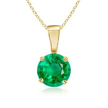 Angara Natural Emerald Necklace in Yellow Gold