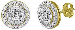 jcpenney FINE JEWELRY 3/4 CT. T.W. Diamond 10K Yellow Gold Round Stud Earrings on shopstyle.com