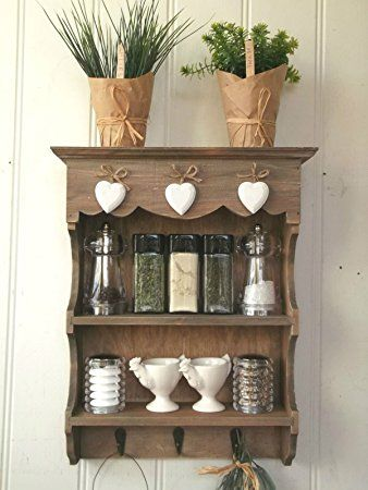 Small Shabby Chic Wooden Wall Unit Display Shelf With Hooks Perfect For Keys Bathroom Essentials Or Ornaments In Any Bedroom Hallway Kitchen Utility