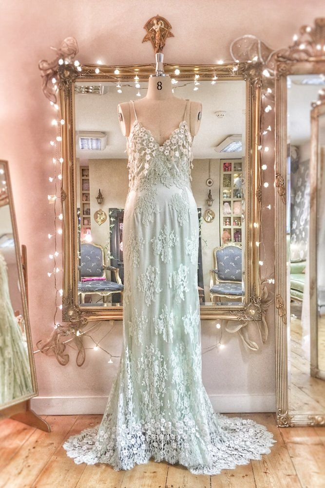 Image Of Sample Sale Pale Mint Green Ivory Lace And Silk Low