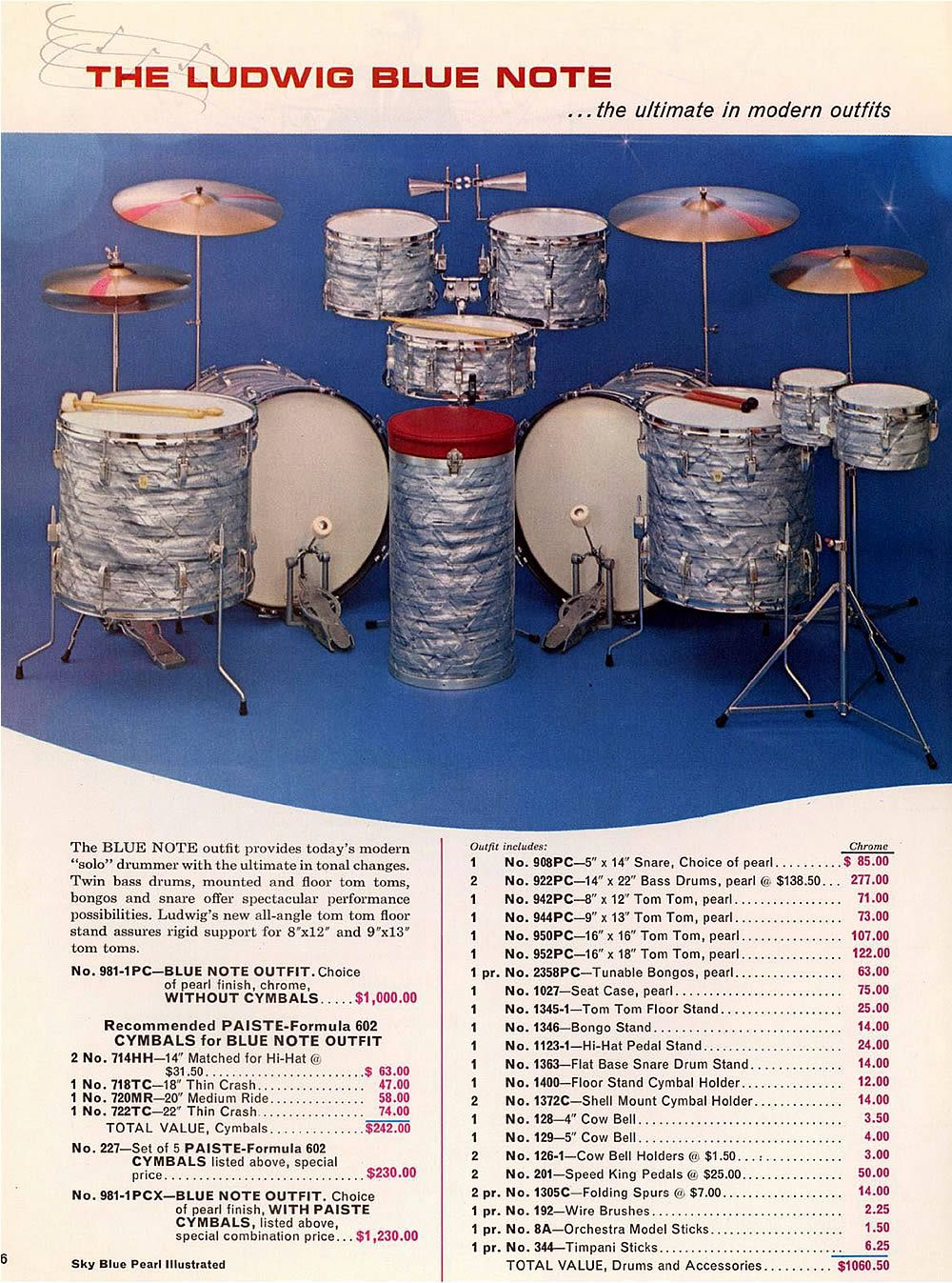 The Ultimate In Modern Outfits Ludwig S Blue Note Double Bass Set From The 1967 Catalog Two 14 X 22 Bass Drums 8 X 12 Pearl Drums Drums Vintage Drums