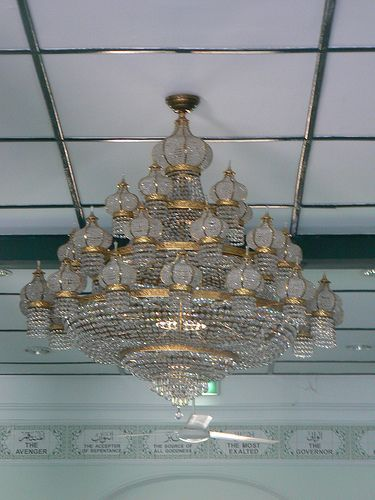 Chandelier in the Indian Mosque in Chinatown Singapore