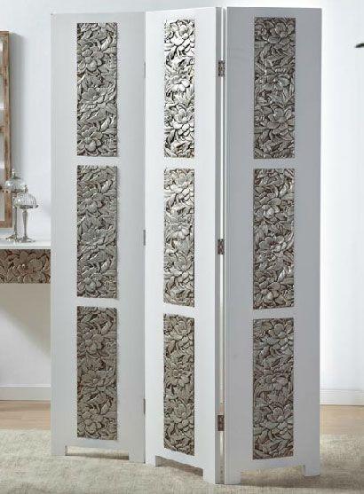 Biombo blanco y madera tallada en plata ogos mueble - Puertas de biombo ...