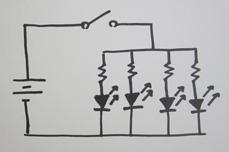 LED dance glove hand drawn circuit diagram