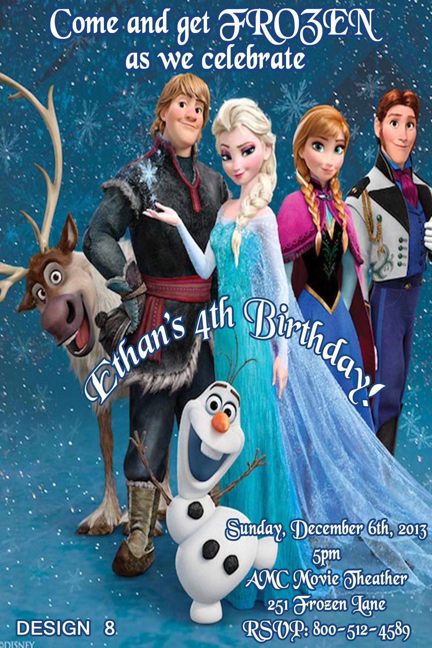 Disney Frozen Birthday Invitations   Disney Frozen Movie Birthday ...