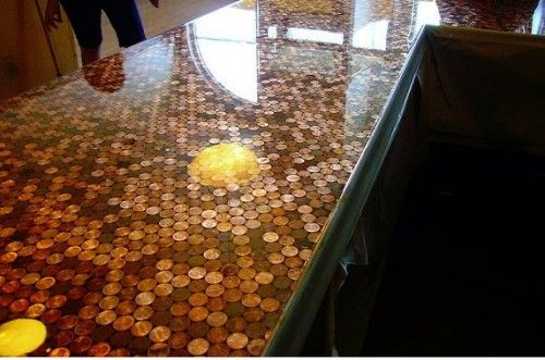 Diy penny countertop must have this for the home for Copper penny bar top