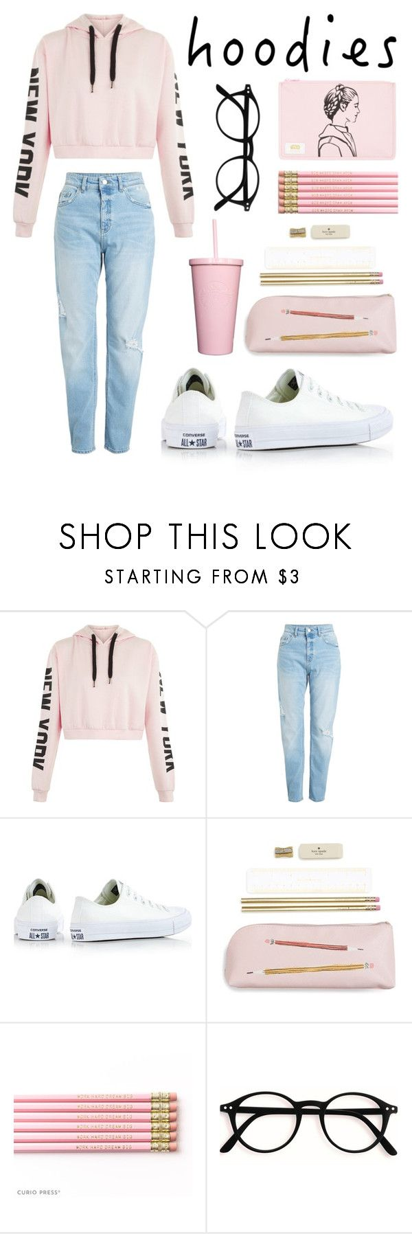 """""""I'm in love with pink"""" by zalfairsha ❤ liked on Polyvore featuring Converse, Kate Spade, STATE Bags and Hoodies"""