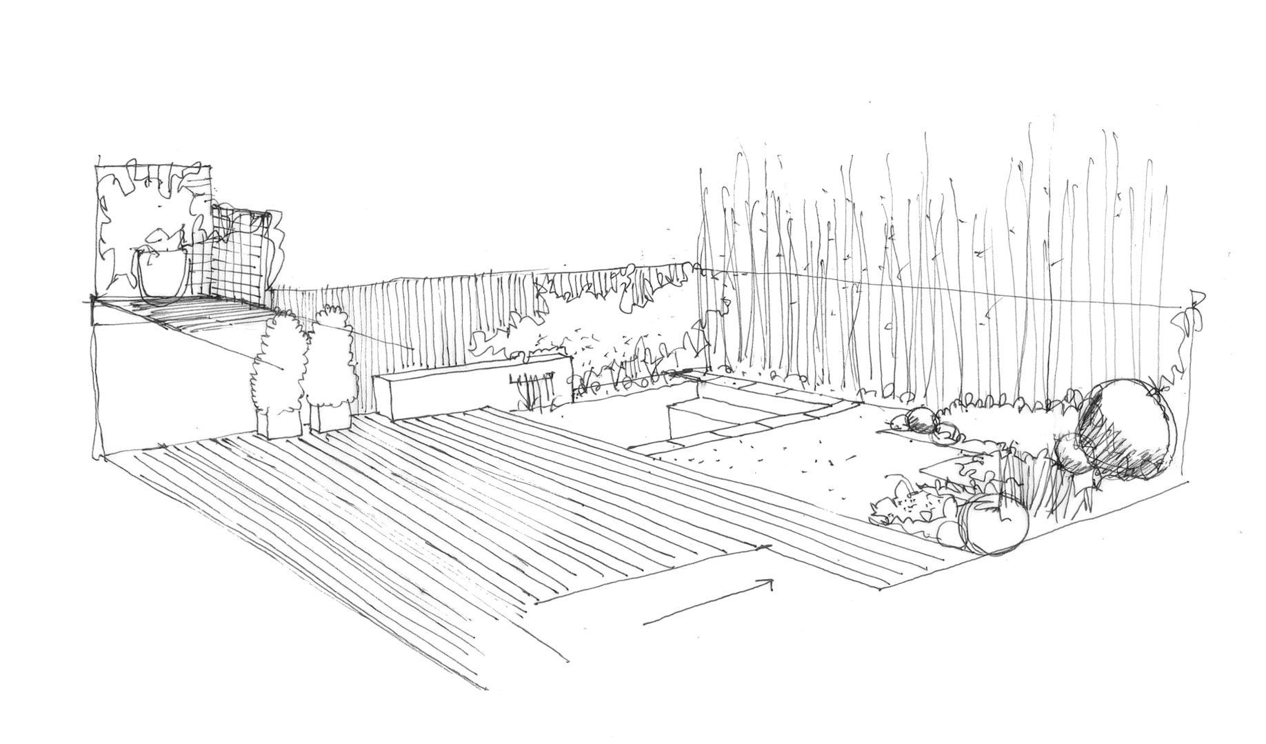 Croquis De Diseno De Jardin Con Piscina Plan Sketch Architecture Drawing House Landscape